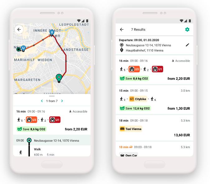 Appscreen zeigt die Routenplanung